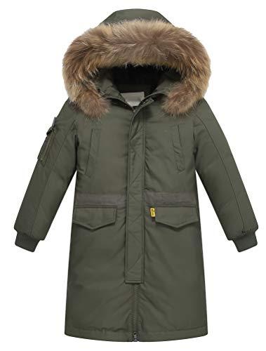 FTCayanz Kinder Daunenjacken Winterjacke mit Kapuze Lang Jacken für Jungen Mädchen Mäntel warm Wintermantel Armeegrün Körpergröße 140-150