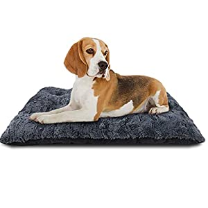 FURTIME Dog Bed Crate Pad Ultra Soft Washable Kennel Bed 24/30/36/42 Inch Anti-Slip Crate Sleeping Mat for Large Medium Small Dogs and Cats (35″ x 23″)