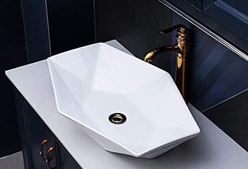 Lavabo de cerámica, Lavabo sobre encimera, lavabo ovalada Lavamanos Cuarto de Baño Diamant 56,5x37,5