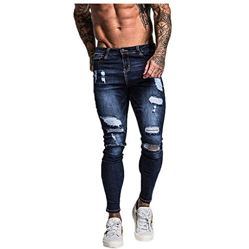 Buy Cheap Leadmall Men's Ripped Denim Pants - Fall Winter Slim Fit Distressed Knee Hole Jeans Casu...