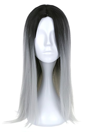 CoolChange Perruque Cheveux Longues, Noire et Grise
