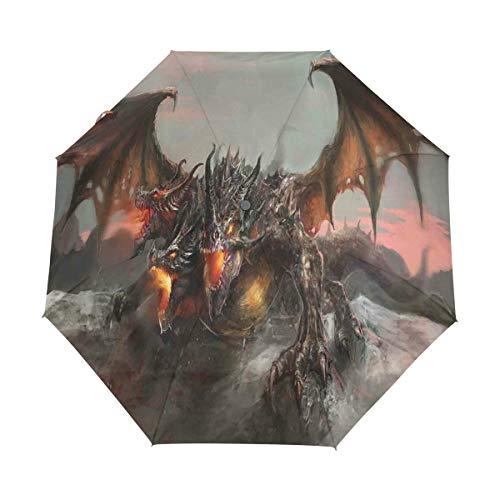DUILLY Automatischer Regenschirm zum Öffnen/Schließen,Feuerspeiender Drache mit DREI Köpfen Großes Monster-Gothic-Thema,Winddichter, Wasserdichter, Leichter Reise-Taschenschirm