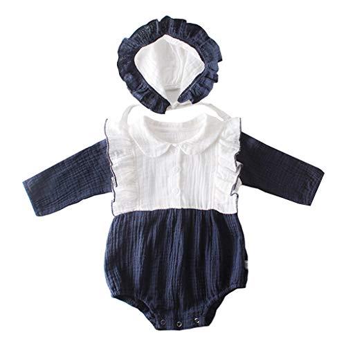 TUDUZ Bebé Niña Manga Larga Body De MamelucoSólido Mono Gorra Conjuntos Recién Nacido Disfraz Otoño E Invierno (Azul, 90)