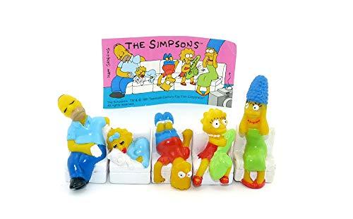 Kinder Überraschung Familie Simpsons als Figuren auf dem Sofa von 1991 mit BEIPACKZETTEL (Homer, Bart, Meggy, Lisa und Marge Simpsons)