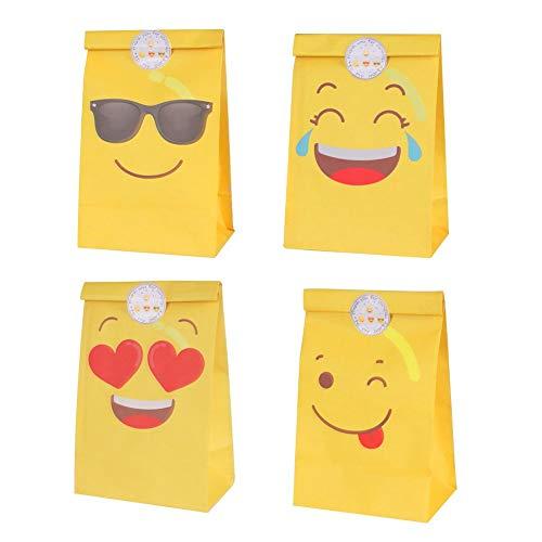 DISOK Lote de 12 Bolsas de Regalo Infantiles para Niños EMOTICONOS con Cierre Adhesivo Pegatina 22 x 12 cm - Bolsas Originales de Papel para Caramelos, Detalles y Regalos