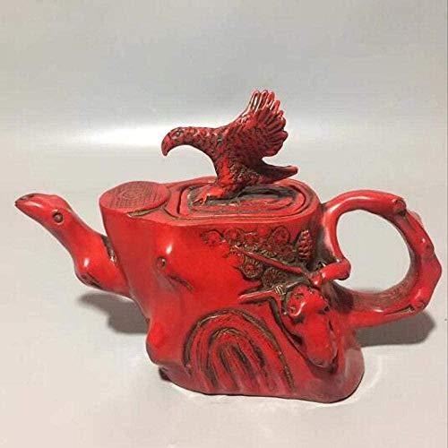 Statues,Ornaments Sculptures Handmade Red Eagle Bird Water Pot Teapot Wine Pot Animal Statue Success Wealth Home Decoration