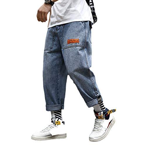 Pantalones Vaqueros para Hombre Otoño Pantalones Vaqueros Sueltos de Tendencia Pantalones Vaqueros Harlan de Nueve Puntos con Cintura elástica Recta Suelta S