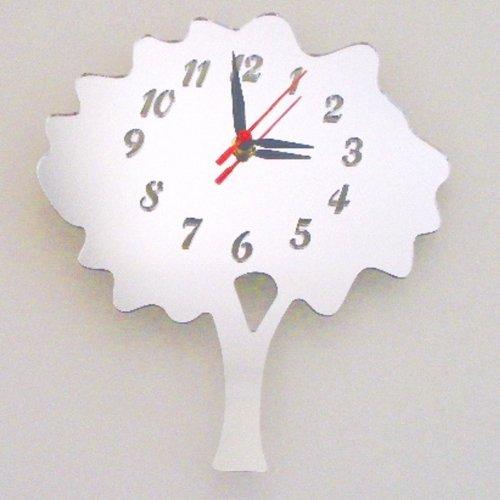 Super Cool Creations 30 X 20 cm Acrylique Arbre Miroir Horloge, Argent