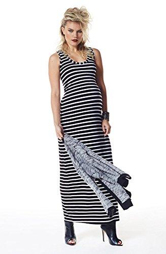 Queen Mum - stripes dress - Robe - maternité - Maxi - - - Sans manche - Femme - Noir - Rayures noires - XS (Taille fabricant: 10)
