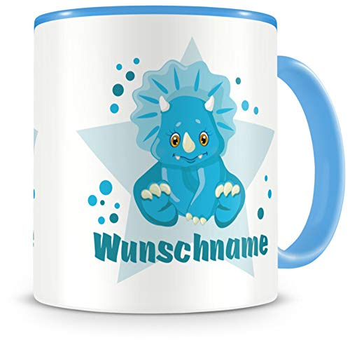 Samunshi® Kindertasse mit Namen Tasse Blauer Dino Personalisierte Tasse mit Namen Kinder Kinderbecher mit Namen Kindergarten blau 300ml