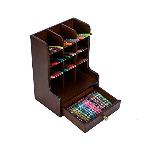 Bürospeicher liefert stilvolle Büro-Desktop-Aufbewahrungsständer unterteilt großer Kapazität Massivholzstifthalter Pinsel und Markierungsstift Halter Schreibtisch-Stand-Organisatoren (Farbe: braun, Gr