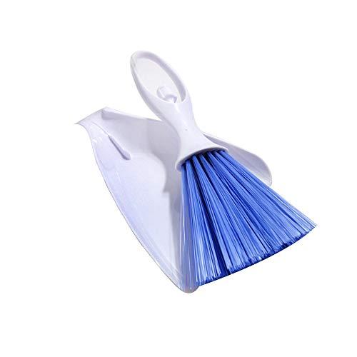Andiker Kunststof schep, zandbadschep, draagbare reinigingsset voor dieruitwerpselen, draagbare reinigingskit voor dierpoep, voor kleine dierenkooien, keukens, bureaus, toetsenborden en hoeken (blauw)