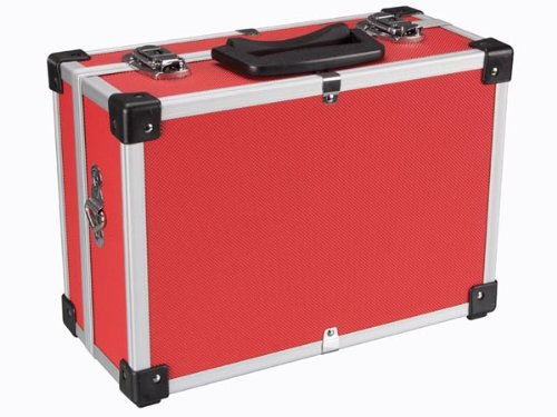 PEREL - 1821-R Aluminium Werkzeugkoffer, 330 mm x 230 mm x 150 mm Abmessungen, Rot 138960