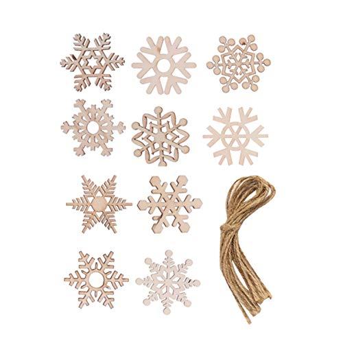 SUPVOX 20pz Fiocchi di Neve in Legno Decorazioni per Alberi di Natale in Legno Ornamenti Tag Regalo di Natale Festa di Natale bomboniere Regali con Corda di Iuta