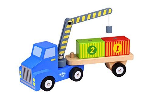Tooky Toys- Container Loader Camion Porte conteneur en Bois, TKF003, Multicolore