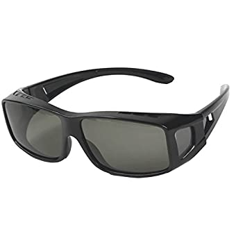 メガネの上から掛けられる オーバーグラス オーバーサングラス メンズ レディース 兼用 偏光 UV400 紫外線 99.9%カット 眼鏡+ケース セット【グレー】