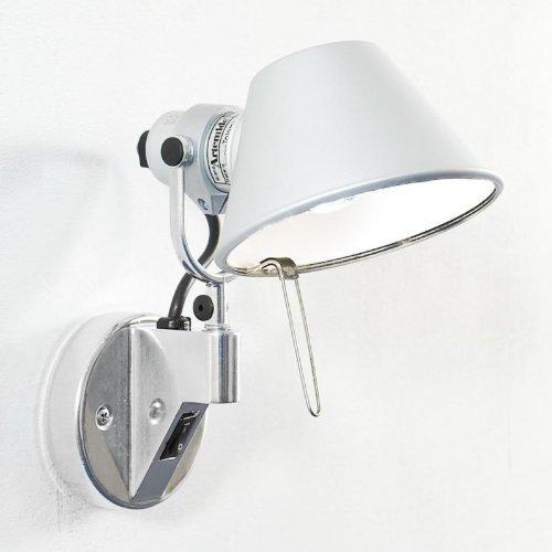 Toloméo Micro Faretto - Applique da parete in alluminio/anodizzato/lucidato/con interruttore