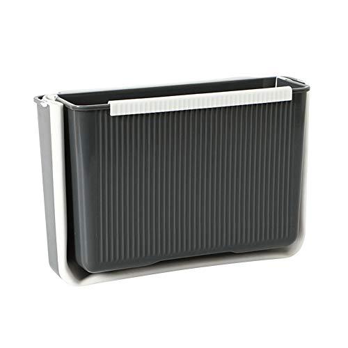MoreChioce - Cubo de basura plegable para colgar, 4 L, bandeja de recogida de residuos de plástico para cocina, gabinete de cocina, puerta, coche, baño, oficina y dormitorio, color gris