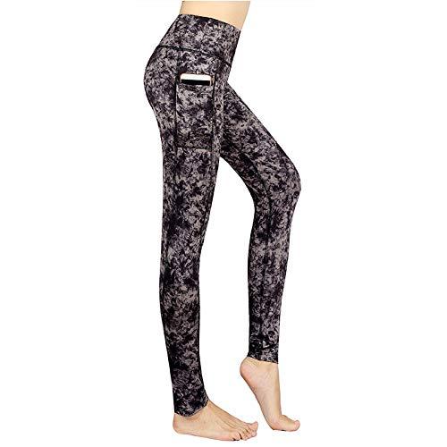 EMPERSTAR Pantalones De Yoga Impresos Leggings De Entrenamiento Físico De Cintura Alta Capris con Control De Barriga para Mujeres con Bolsillo XL