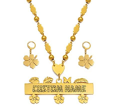 NC110 Conjunto de aretes de Collar en mayúsculas para Hombre y Mujer, joyería Hawaiana Guam Personalizada YUAHJIGE