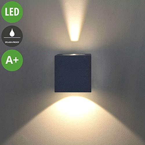 Lampenwelt LED Wandleuchte außen \'Jarno\' (spritzwassergeschützt) (Modern) in Schwarz aus Aluminium (2 flammig, A+, inkl. Leuchtmittel) - LED-Außenwandleuchten Wandlampe, Led Außenlampe, Outdoor