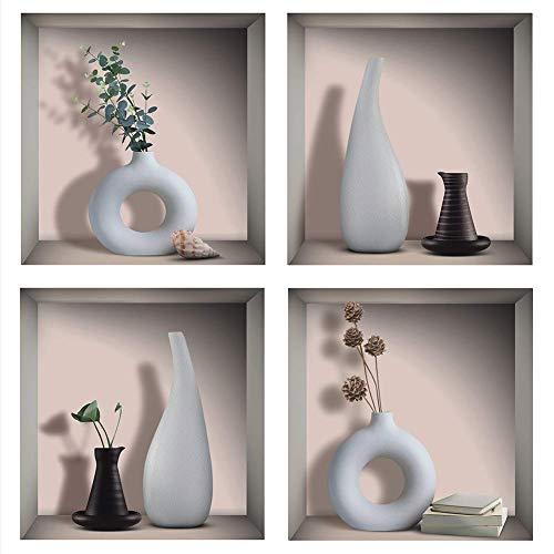 ANHUIB 4 Stück 3D Vase Wandaufkleber,Vasen Wandaufkleber für Wohnzimmer Wanddeko,DIY Vinyl Abnehmbare Blätter und Weiße Flasche Wandbilder für Küche Schlafzimmer Büro Tür Wandkunst Bild Dekor,30×30CM