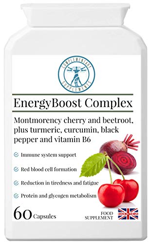 Complementary Supplements | EnergyBoost Complex | Concentrated Energy & Immunity Formula | Montmorency Cherry | Beetroot | VIT B6 | Turmeric | Vegan | 60 Capsules