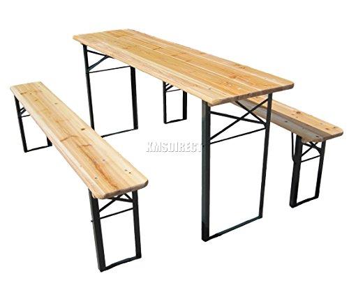 BIRCHTREE Outdoor Wood Wooden Vintage Folding Beer Table Bench Set Trestle Party Picnic Pub Garden Furniture Steel Leg