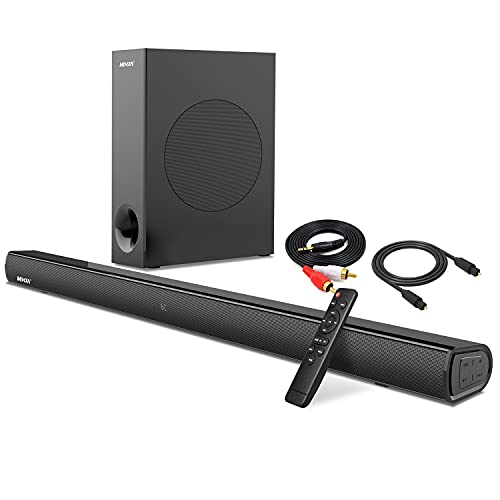 Soundbar,Mixza Soundbar for TV Built-in DSP PC Speaker with subwoofers,Bluetooth, 3D Surround Sound 34'' Sound Bar Audio System for Home Theater/Gaming/Projectors,Combined AUX/Opt Connectivity