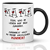 Kaffeebecher24 - Regalo per la festa della mamma, tazza per la mamma con scritta in lingua tedesca 'Hessliche Kinder' - Lavabile in lavastoviglie - Regali per mamma - Tazza divertente - Nero