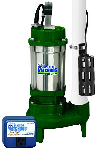 THE BASEMENT WATCHDOG Model BWSS100 1 HP 6,540 GPH at 0 ft. and 4,400 GPH at 10 ft. Cast Iron / Stainless Steel Submersible Sump Pump with Caged Dual Micro Reed Float Switch