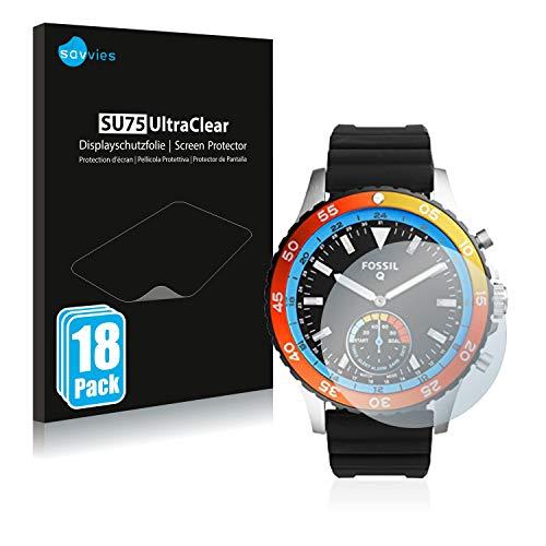 Savvies 18x Schutzfolie kompatibel mit Fossil Q Crewmaster FTW1124 Bildschirmschutz-Folie Ultra-transparent
