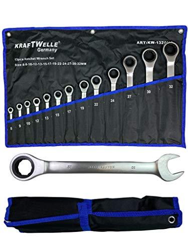 Kraftwelle Ringratschenschlüssel Ringmaul Ringgabel 13-teilig 8mm-32mm Gabelschlüssel mit Ratsche inklusive robuster Stoffbeutel Werkstatt KFZ