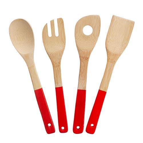 Relaxdays Lot de 4 cuillères de cuisine, accessoire de pâtisserie en bambou, en bois, pour cuisiner, nature 10025072