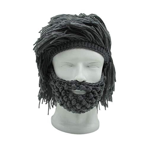 waitousanqi Halloween Funny Creative Handmade Hat Wig Beard Hat Autumn Unisex Manual Rasta Knitting Wool hat Handmade Hat
