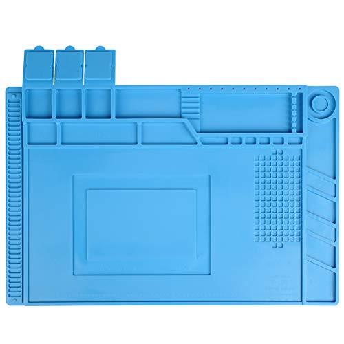 ATPWONZ Antistatische Lötmatte, 45 x 30 cm Magnetische Arbeitsmatte 500 ° C Hitzebeständige Silikonmatte Arbeitsmatte Reparaturmatte zum Löten von Lötarbeitsuhren