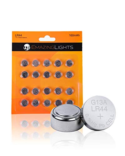 LR44 Battery (20 Pack) 1.5V Alkaline Button Cell AG13 357 303 SR44 Batteries for Watches, Pointer Pens, Calculators, Medical Devices, Toys EmazingLights
