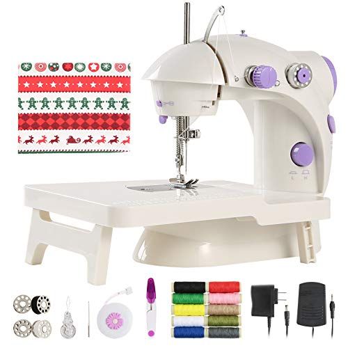 Mini Sewing Machine with DIY Materials for Beginner Kid, Enjoylf Portable Sewing Machine with Extension Table,Lamp,Cutter and Foot Pedal 2-Speed 2-Thread