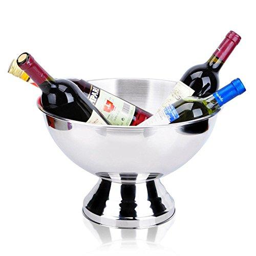 FTC Ice Bucket Secchiello per Ghiaccio in Acciaio Inox da 35 cm con Bicchiere Medio Secchiello per Champagne Secchiello per Il Ghiaccio 9 Litri