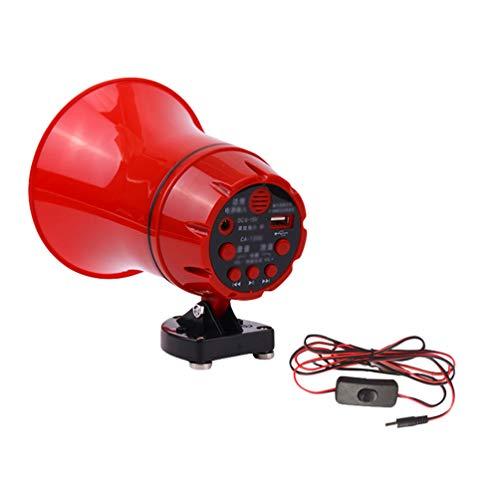 N / A Megafono Portatile Lettore Registratore Altoparlante con Sirena e Base Magnetica per Macchina, Camion (Rosso | con Interfaccia USB, Taglia Unica)