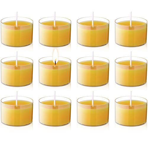 Nuanchu 12 Pieces Beeswax Tea Lamps Handcrafted Unscented House Decorative Tea Wax Candles with Transparent Cups for Home Party Decoration