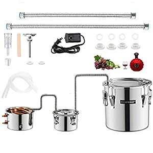 DESENNIE 5Gal 20L Moonshine Still with Electric Circulating Pump, Water Alcohol Distiller with Thumper Keg, Copper Tube…