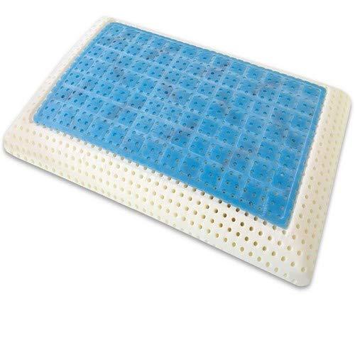 Marcapiuma - Almohada Viscoelástica Memory Gel 70 cm Modelo Jabón Perforado con Funda 100% ALGODÓN - Almohada Viscoelástica Gel con Agujeros Ortopédica - Producto Sanitario - 100% Fabricada en Italia