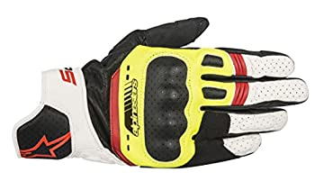 Alpinestars Men s SP-5 Leather Motorcycle Riding Glove Black/Yellow/White/Red X-Large