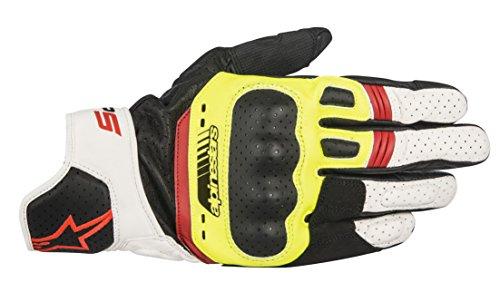 Alpinestars 1694360302 Motorrad Handschuhe, Schwarz/Weiss/Gelb, M