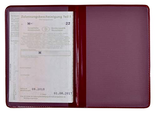 KFZ Schein Schutzhülle PVC 2 Fächer Etui Mappe viele Farben Kartenhülle Fahrzeugschein Hülle Made in Germany … (Bordeaux)