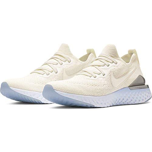 Nike  Women's  Epic React Flyknit Running Shoe, Sail/Metallic Silver, 10