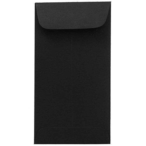 JAM PAPER 7 Coin Business Premium Envelopes - 3 12 x 6 12 - Smooth Black - 50Pack