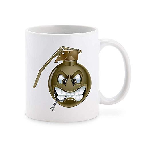 N\A Silly Grinning Smiling Military Bomb Cartoon Icon - Taza de café con Granada de Mano Verde Taza de té Novedad Tazas de Regalo 11 oz