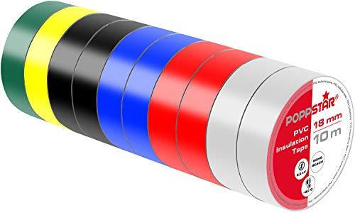 Poppstar - 10x 10m Nastro isolante universale (nastro sigillante in PVC - nastro adesivo), per isolamento - riparazione di conduttori elettrici (18mm